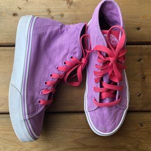 Girls Vans Pink Purple High Sneakers Runners Running Shoes